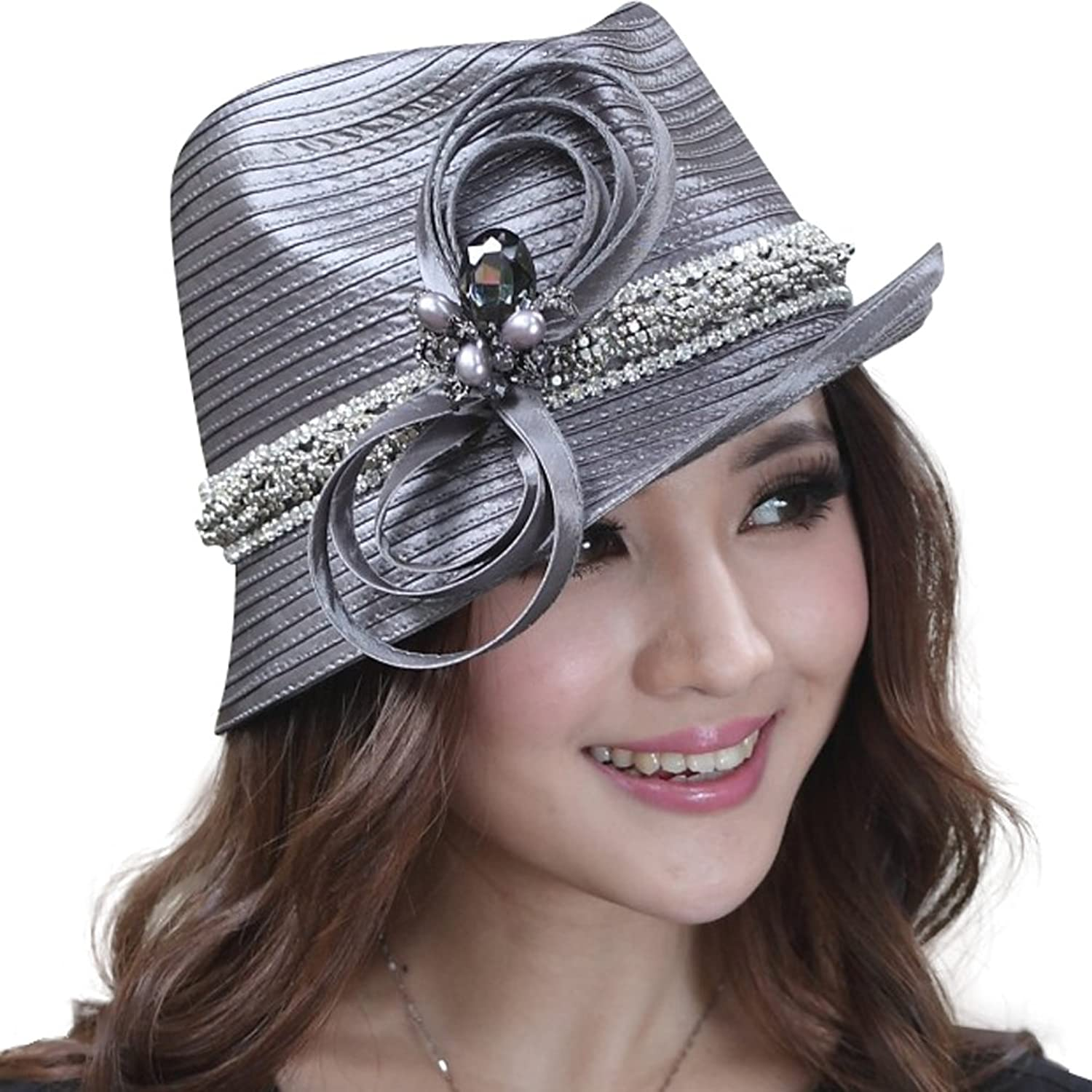 June's Young Sweet Tea Church Derby Hat Women Hats Shimmering Bow
