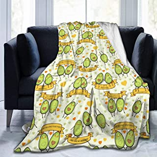 BLACK SP Cute Avocados Let¡¯s Avocuddle Personalized Throw Blanket Comfortable Sofa Couch Fleece Blanket, TV Bed Blanket for All Season