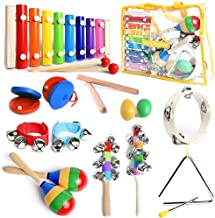 SMART WALLABY Toddler Musical Instruments Set with Xylophone. 15 Pcs. Kids Wooden Toy Percussion Set with a Free Musical Games eBook Bonus (Little Band)