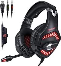 GEEKLIN Gaming Headset for pc Gaming Headset for ps4 Xbox one Controller with Microphone,Rotatable Ear Shell,50mm Super bass Speakers,3.5mm Adapter for Laptop
