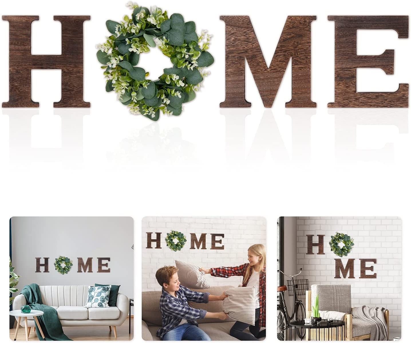 ONEPENG Wall Hanging Wood Home Sign Decor, O Shaped Artificial Eucalyptus Wreath Decoration, Rustic Home Decor, Bedroom, Kitchen, Enterway, Home, Housewarming Gift.