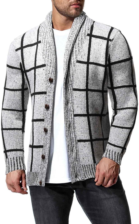 ZSBAYU Men's Fashion Warm Plaid Cardigan Sweaters Casual Long Sleeve Button Knitting Sweaters Jackets