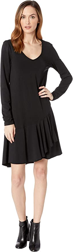 Cotton Modal Spandex Jersey Long Sleeve V-Neck Dress with Asymmetrical Flounce