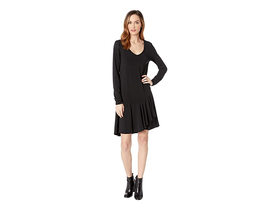 Mod-o-doc Cotton Modal Spandex Jersey Long Sleeve V-Neck Dress with Asymmetrical Flounce (Black) Women