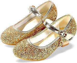 ALPHELIGANCE Girls Mary Jane Glitter Wedding Party Dress Shoes Low Heel Princess Flower Strap Shoes Kids