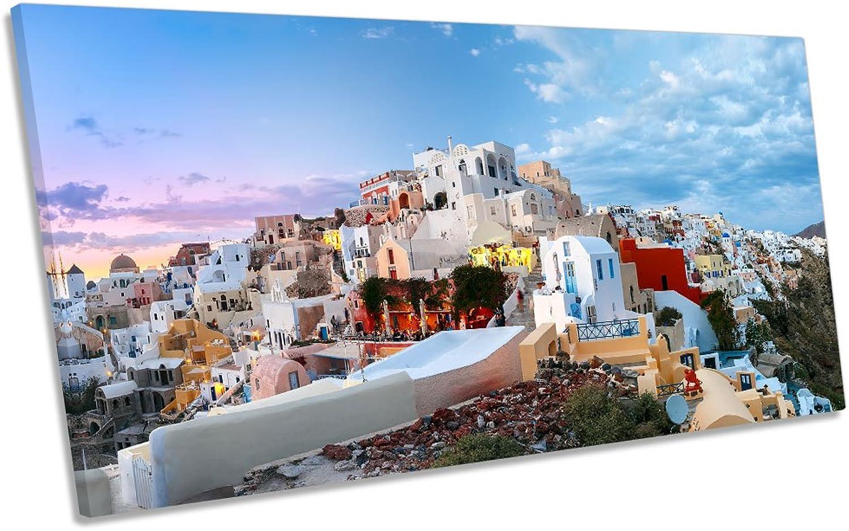 Canvas Geeks Santorini Leinwandbild, Motiv  Sonnenuntergang in Griechenland, 180cm Wide x 90cm high