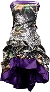 Women's Strapless Short High Low Camo Cocktail Party Wedding Prom Dress