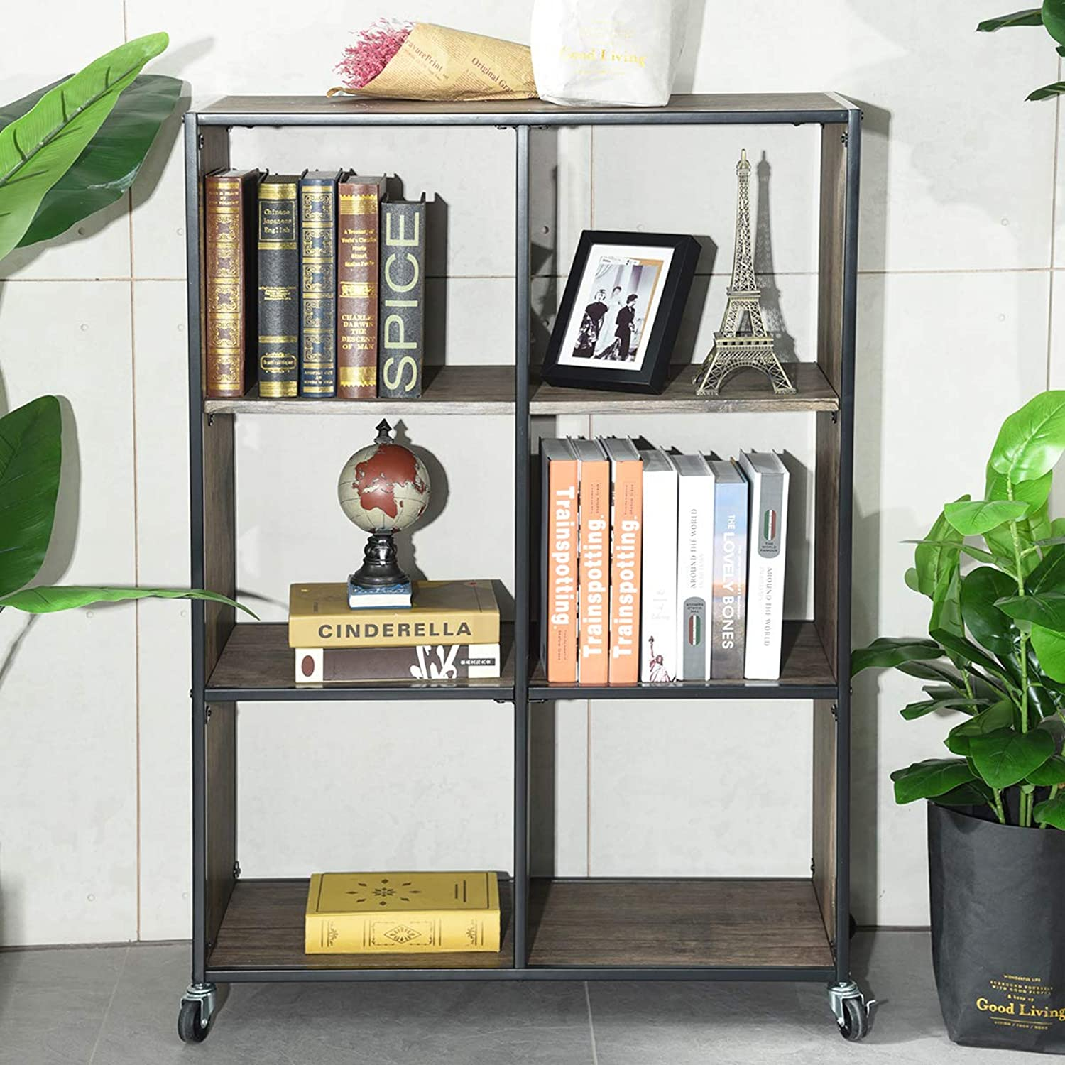 Bookcases Shelves, HOMEMAKE Removable 6 Grids Storage Cabinet Bookcase for Bedroom Living Room Office (2 Tier)