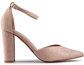 Baldi Women's Aryn Beige/Black/Burgundy high Heel mid City Casual Shoes High Heel Classy Summer Shoes, Pointy Toe Comfy for Office and Outdoor