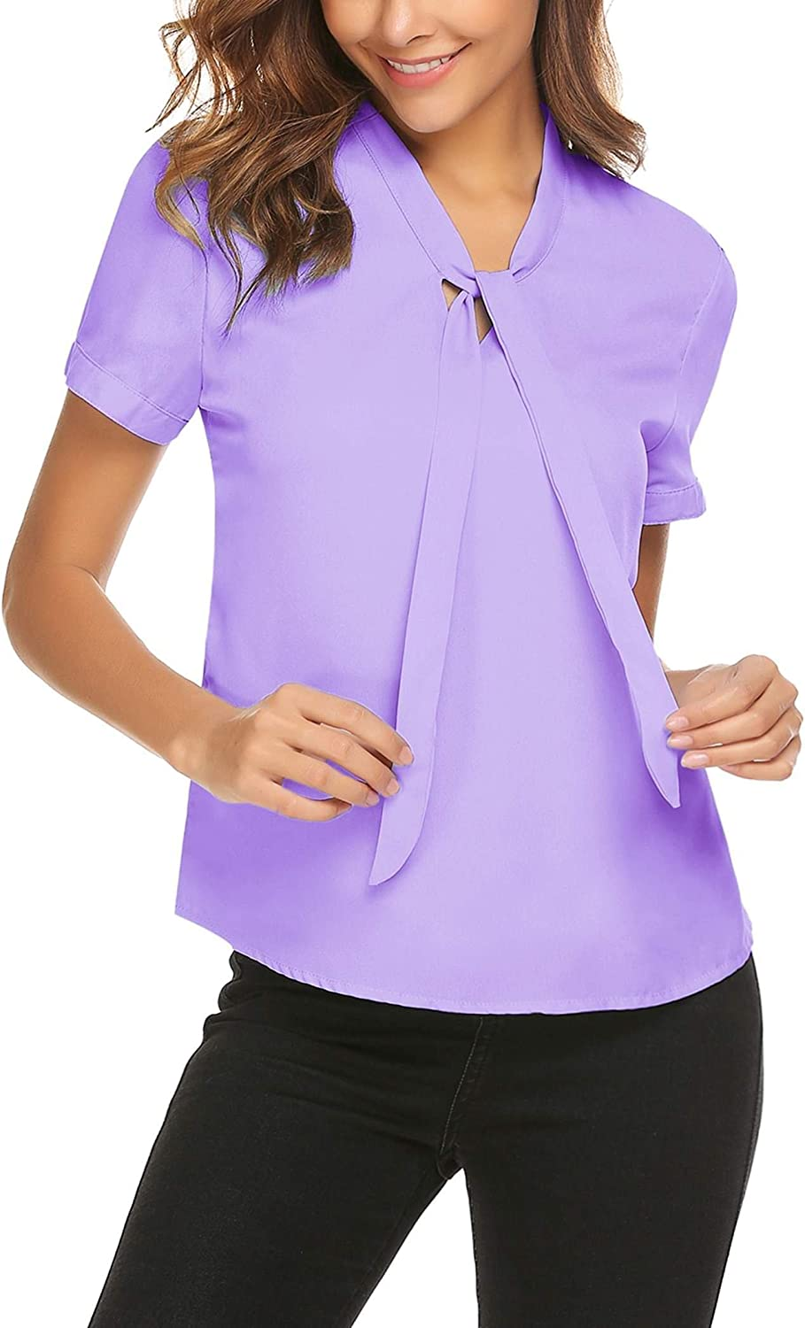 ACEVOG Womens Blouse Short Sleeve Chiffon Shirts Bow Tie Neck Business Tops Breathable Summer Shirts for Women Work Wear