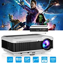 HD Movie Projector with Speakers Zoom HDMI USB 4600 Lumens for Home Theater Outdoor, LED LCD HDMI Video Gaming Projector 1080P Compatible with TV DVD XBOX Playstation Wii U Laptop PC Smartphone