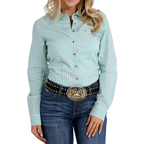0e3a2417 Cinch Women's Mint Checkered Plain Long Sleeve Button Down Shirt -  Msw9164068