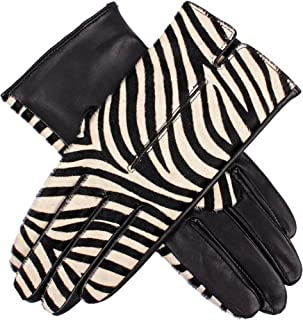 Dents Women's Animal Print Leather Gloves With Single Point Stitch Detail & Acrylic Knit Lining