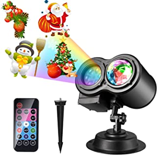 Christmas LED Projector Lights, LUXONIC 16 Slides Waterproof Outdoor Water Wave & Rotating Gobos Double Projection Light with Remote Control for Christmas Birthday Party Holiday