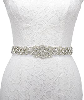 AW Women's Crystal Belt Clear Rhinestone Applique Bridal Dress Sash Belt for Wedding Accessory