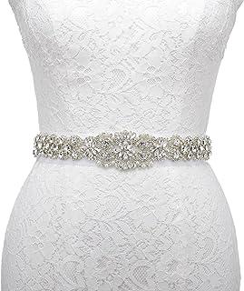 AW Women's Crystal Belt Clear Rhinestone Applique Bridal Dress Sash Belt for Wedding Accessory