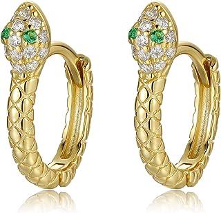 Qings Orecchini Serpente in Argento Sterling 925 - Piccoli Orecchini per Le Donne Ragazze