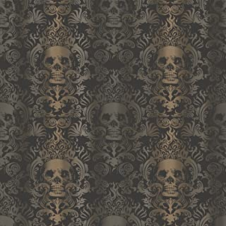 Chesapeake TOT47111 Luther Sand Skull Modern Damask Wallpaper