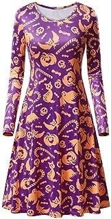 Halloween Dress, XUEJIN Women Pumpkin Skull Skater Swing Dress Vintage Elegant A-line Skull Long Sleeve Dress