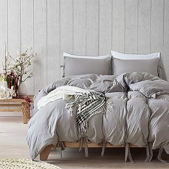 Fanmuran 2 piezas Fundas para Edredón y Almohadas algodón lavado La arruga técnica tiene un aspecto moderno estilo bowknot Corbata de lazo Diseño de la funda nórdica Juego de cama Ropa de cama suave y sedosa de fácil cuidado (Gris, Twin)