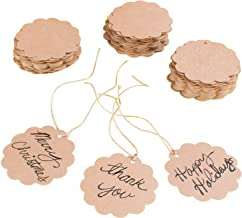 Brown Craft Scalloped Paper Label Tags with Jute Twines String for Birthday Party, Wedding Decoration Gifts, Organizing, A...