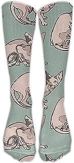 Calcetines altos personalizados invierno cálido medias Sphynx Cats Fitness rodilla rodilla mujer