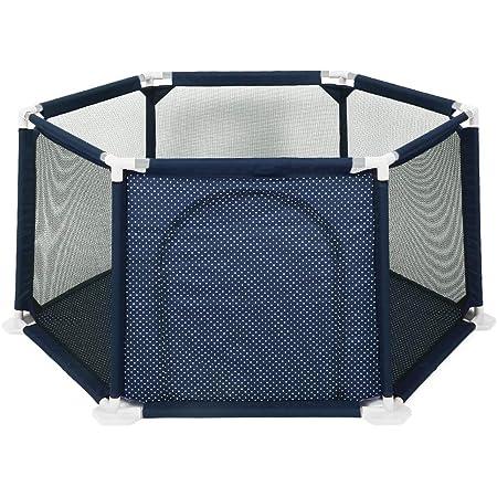 ベビーサークル ベビーガード ベビーフェンス キッズサークル 遊びスペース 洗える 室内室外兼用 収納可能 ブルー