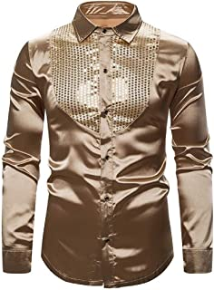 desolateness Mens Lapel Button Long Sleeve Sequins Pullover Casual Slim Fit Blouse Shirt Tops