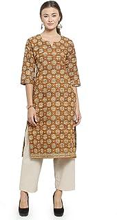 Sayesha Women Goldenrod Cotton Printed Kurti with Palazzos Set