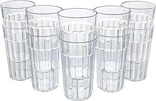 Honla Set of 10 Plastic Tumblers,10oz Unbreakable Small Cups,Clear