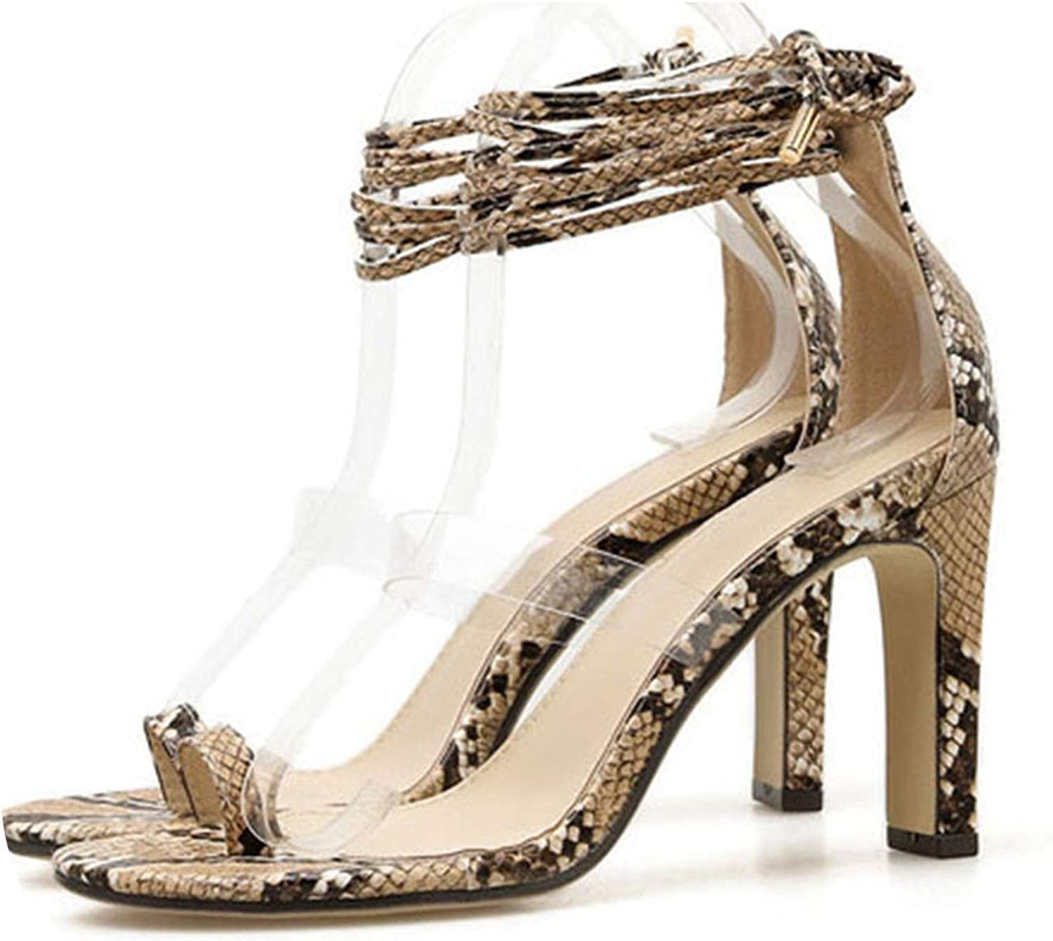 Pink-star New Snake Pattern Cross Strap Transparent Plastic Sexy High Heel Thick with Sandals Female