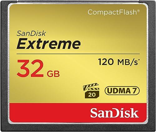 SanDisk 32GB Extreme CompactFlash Memory Card - SDCFXSB-032G-G46,Black, Gold, Red