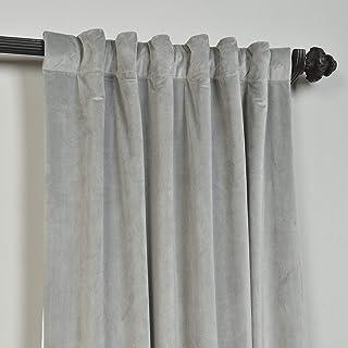 ChadMade Set of 2 Solid Matt Velvet Curtain Panel Drapes Back Tab/Rod Pocket Silver Grey..