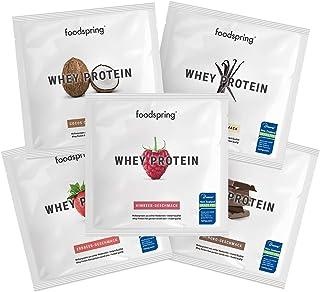 comprar comparacion foodspring Muestras de Proteína Whey, Sabores distintos, 5 x 30g, 100% proteína de suero de leche, Proteína en polvo para ...
