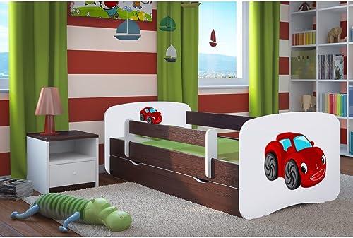 CARELLIA Kinderbett Auto rot 80cm   x 16cm   mit Barriere Sicherheitsschuhe + Lattenrost + Schubladen + Matratze Ofürt. Wenge