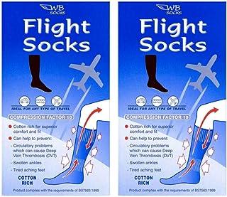 2 Pairs of Cotton Rich Anti-Dvt Flight socks, Travel socks,