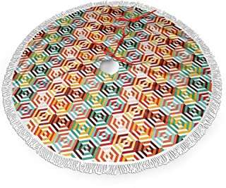 Dlskjda Abstract Hexagon Christmas Tree Skirt for Brushed Fabric with White Fringed Lace