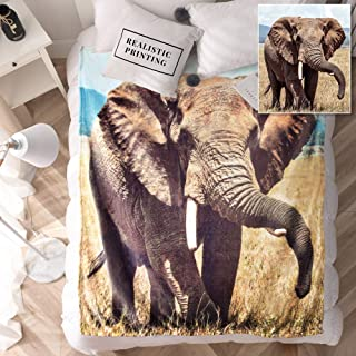 KAWAHOME 3D Vivid Digital Printing Elephant Fleece Blanket Soft Lightweight Warm Throw Blanket for Bed or Couch 50 x 60 Inches