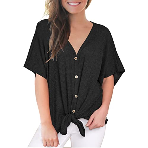 d4e94c14630 MIHOLL Womens Loose Blouse Short Sleeve V Neck Button Down T Shirts Tie  Front Knot Casual