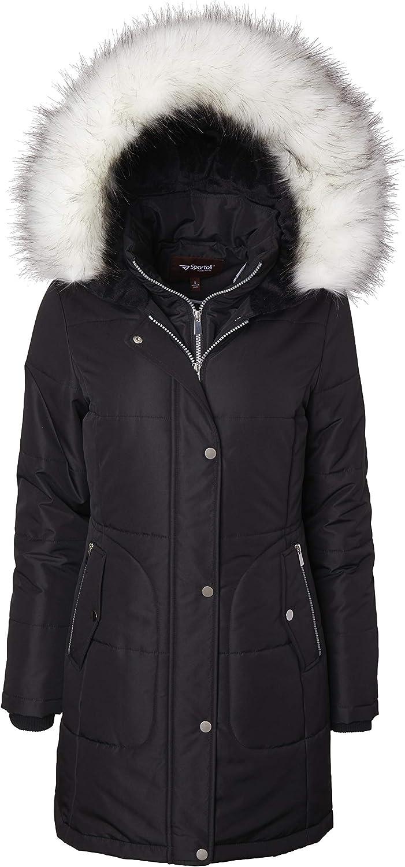 Women's Long Quilted Down Alternative Vestee Puffer Jacket Fur Trim Plush Hood