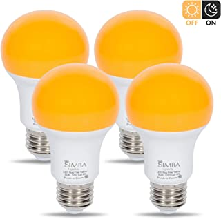 Simba Lighting LED Bug Repelling Yellow Bulb 6W 40W Equivalent, Great for Outdoor Porch Light, Night Light, Dusk-to-Dawn Smart Sensor Auto On/Off, Amber Warm 2000K, A19 E26 Medium Base, Pack of 4