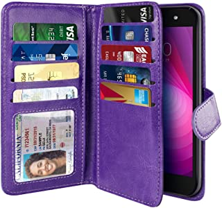 NEXTKIN Case Compatible with LG X Power 2 LV7 M320 5.5 inch, Leather Dual Wallet Folio TPU Cover, 2 Large Pockets Double flap, Multi Card Slots Snap Button Strap For LG X Power 2 LV7 - Purple