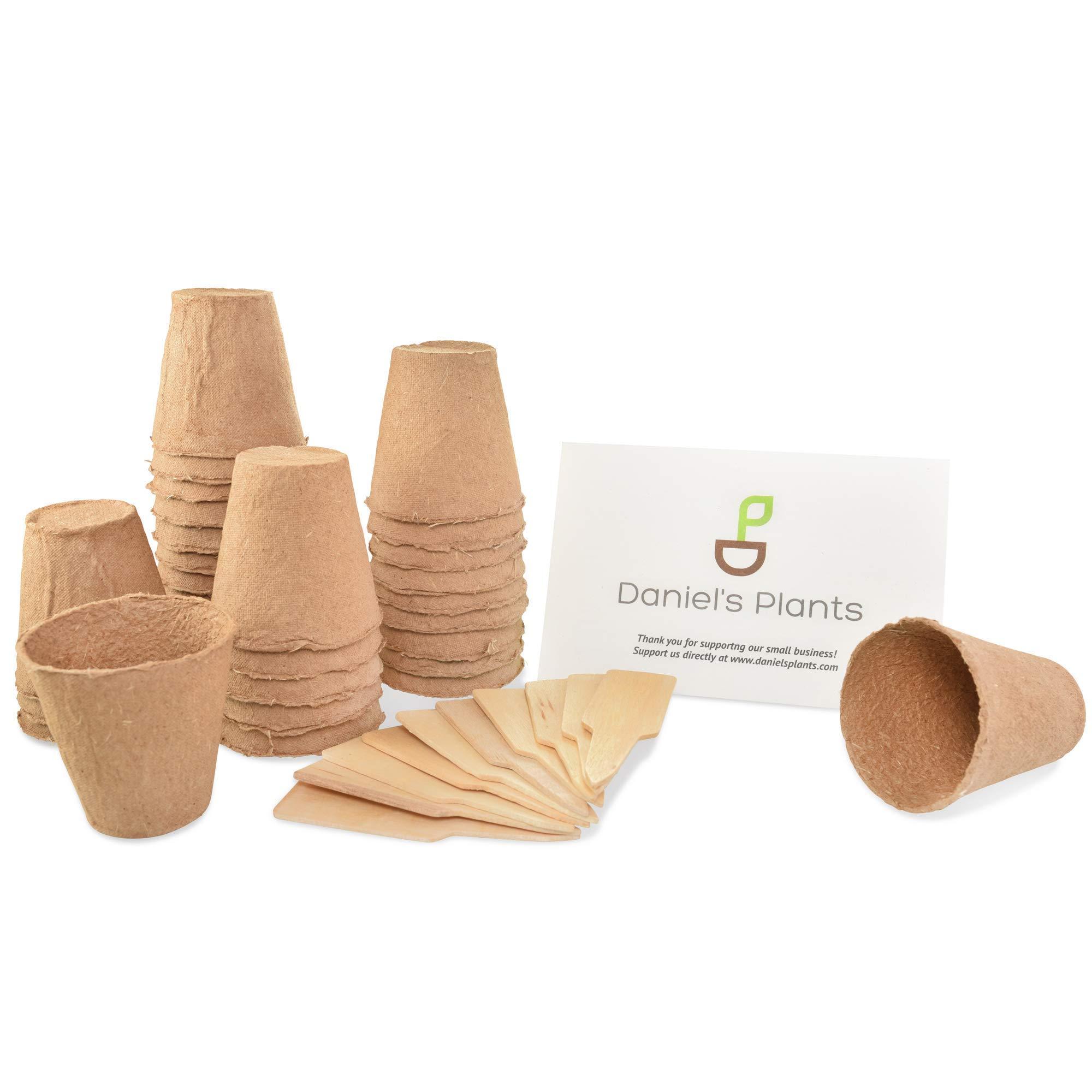 "Daniel's Plants 3"" Peat Pots | Plant Pots for Seedlings & Seed Starter Nursery Pots | Organic Biodegradable Plantable Pots | Eco Friendly | Bonus 10 Wooden Plant Garden Labels | Bulk 60 Pack | 3 Inch"