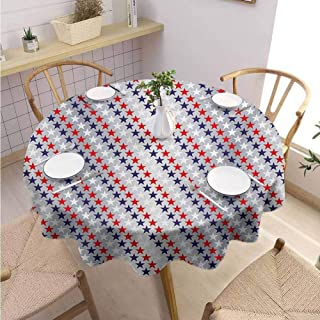 VICWOWONE Camping Round Tablecloth USA Machine Washable July Fourth Stars Citizen National Day Patriotic Western Salute to The Union,Round - 39 inch Silver Indigo Red