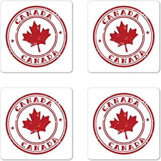 Ambesonne Canada Coaster Set of 4, Rubber Stmap Print with Canadian Flag Motif Maple Silhouette in a Circle, Square Hardboard Gloss Coasters for Drinks, Vermilion and White