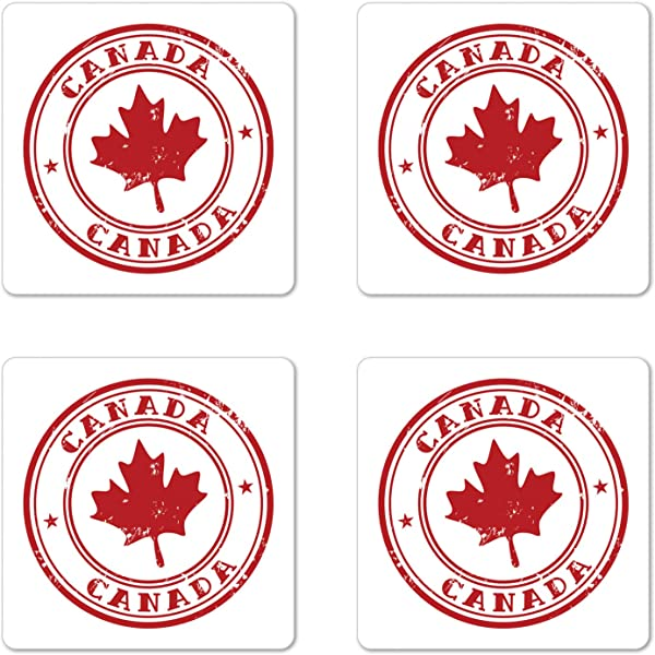 Ambesonne Canada Coaster Set Of 4 Rubber Stmap Print With Canadian Flag Motif Maple Silhouette In A Circle Square Hardboard Gloss Coasters For Drinks Vermilion And White