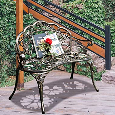 Garden Bench Park Bench Metal Bench Outdoor Benches Clearance Patio Yard Bench Floral Rose Accented Bronze
