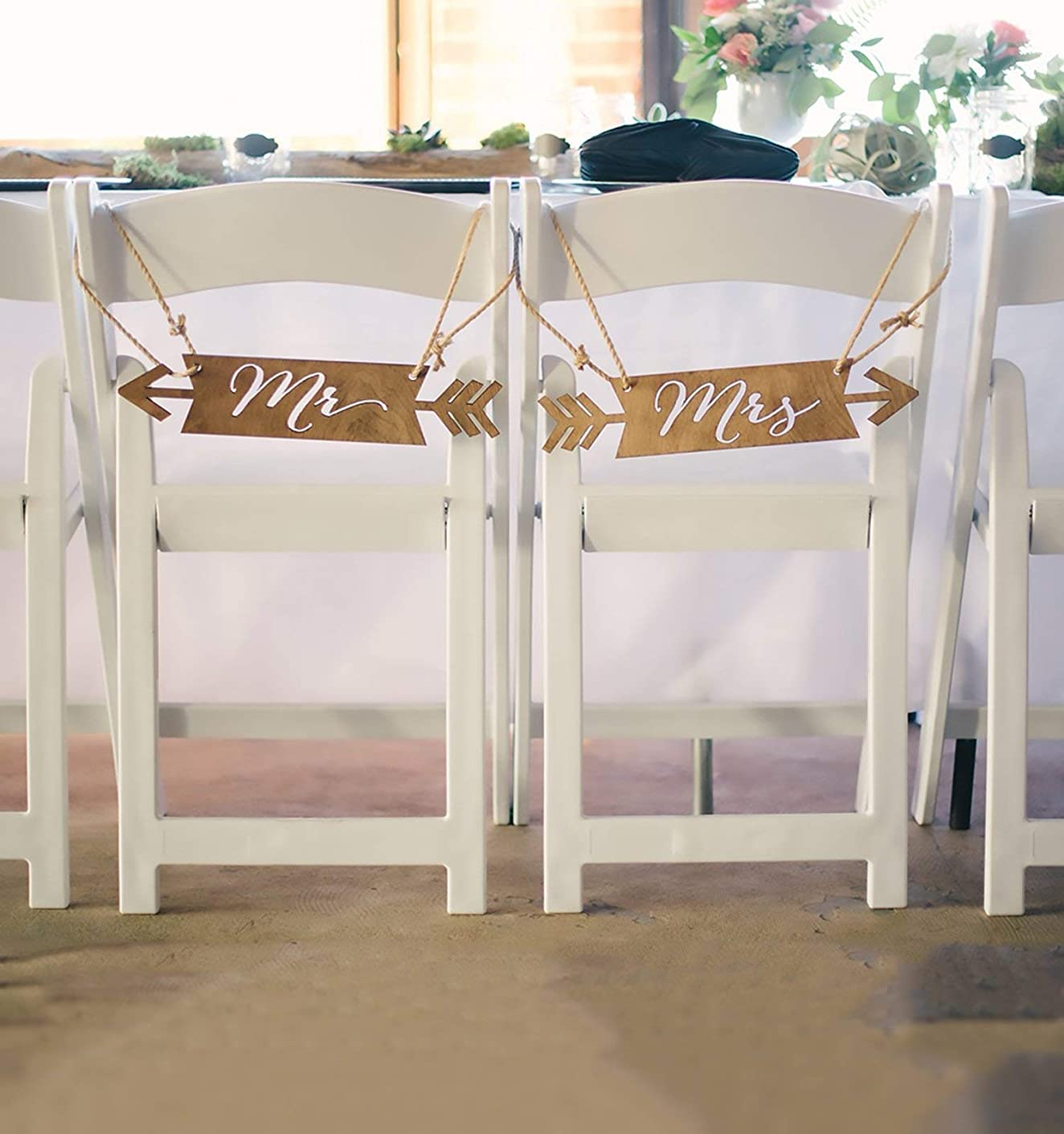 Mr & Mrs Chair Signs - Boho Chic Arrow Chair Signs for Bride & Groom Wedding Sweetheart Table Chair Decorations