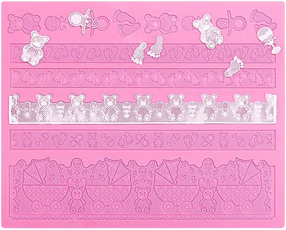 Silicone Lace Molds For Cake Decorating Beasea Adorable Fondant Cake Decorating Tools Lace Decoration Mat Bear Foot Print Pattern Molds Sugar Craft Tools Pink