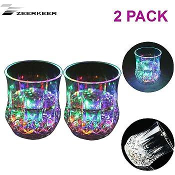 ASEOK Cambiamento Cromatico Bicchiere Bicchieri con LED 3LED Luci Acrilico Plexiglass non Fragile Impermeabile Marble Texture Materiale